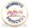H1227 Mommy's Princess Gold Trim Floating Locket Charm