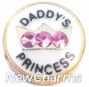 H1228 Daddy's Princess Gold Trim Floating Locket Charm
