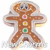 H1406 Gingerbread Man Gold Trim Floating Locket Charm