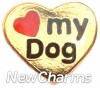 H1659G Love My Dog Gold Heart Floating Locket Charm