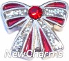 H1683 Glitter Ribbon Bow Floating Locket Charm