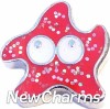 H1692 Glitter Red Starfish Floating Locket Charm