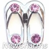 H3121 White Flip Flops With Pink Stones Floating Locket Charm