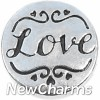 H3506 Love Silver Circle Floating Locket Charm