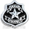 H3513 Serve And Protect Badge Floating Locket Charm