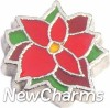 H4523 Poinsettia Flower Floating Locket Charm