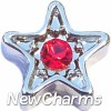 H5053 Red CZ Star Floating Locket Charm