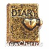 H6212 Vintage Gold Diary Floating Locket Charm