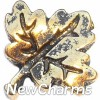 H6220 Vintage Gold Leaf Floating Locket Charm