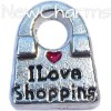 H7006 I Love Shopping Handbag Floating Locket Charm