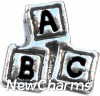 H7174 Silver Letter Blocks Floating Locket Charm