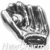 H7196 Silver Baseball Glove Floating Locket Charm