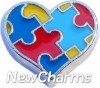 H7505 Autistic Heart Floating Locket Charm
