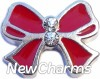 H7506 Big Red Ribbon Floating Locket Charm (clearance)