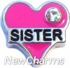 H7510 Sister Pink Heart Floating Locket Charm