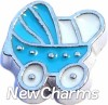 H7517 Blue Baby Stroller Floating Locket Charm