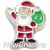 H7548 Santa Waving Floating Locket Charm