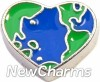 H7628 Planet Earth Heart Floating Locket Charm