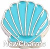 H7630 Blue Sea Shell Floating Locket Charm