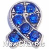 H7693 Ribbon With Blue Stones Floating Locket Charm