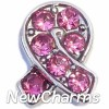 H7694 Ribbon With Pink Stones Floating Locket Charm