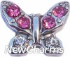 H7698 Butterfly With Pink Stones Floating Locket Charm