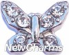 H7699 Butterfly With Clear Stones Floating Locket Charm