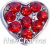 H7700 CZ Red Heart Floating Locket Charm