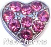 H7717 CZ Pink Heart Floating Locket Charm