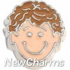 H7775 Brunette Curly Hair Boy Floating Locket Charm