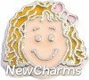 H7837 Blonde Curly Hair Girl Floating Locket Charm