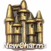 H7859 Big Gold Sand Castle Floating Locket Charm