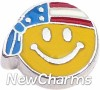 H7877 US Flag Patriotic Smiley Face Floating Locket Charm