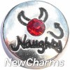 H7920 Naughty Silver Circle Floating Locket Charm