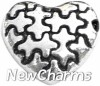 H8099 Silver Puzzle Heart Floating Locket Charm