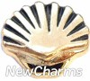 H8172 Clam Shell Gold Floating Locket Charm