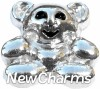 H8223 Teddy Bear Silver Floating Locket Charm