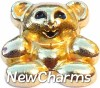 H8224 Teddy Bear Gold Floating Locket Charm