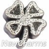 H8262 Four Leaf Clover Floating Locket Charm