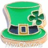 H8318 Gold Trim Leprechaun Hat Floating Locket Charm