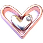 H9870andH9871 Silver Stone Heart Inside Rose Gold Heart