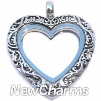 LL5001S Silver Vintage Heart Floating Locket