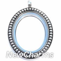 LL5002S Silver Vintage Oval Floating Locket