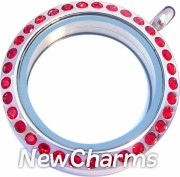 SD21 Stainless Steel Red CZ Medium Round Floating Locket