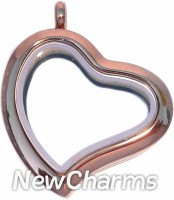 SE92  Stainless Steel Chocolate Curvy  Heart Floating Locket