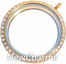 TG13 Stainless Steel Gold CZ XL Round Locket