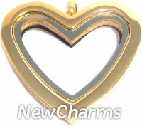SG40  Stainless Steel Gold Curvy Heart Floating Locket
