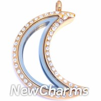SG83 Stainless Steel Gold Moon CZ Floating Locket