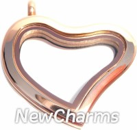 SR40  Stainless Steel Rose Gold Curvy Heart Floating Locket