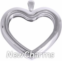 SS90 Stainless Steel Silver Big Heart Floating Locket